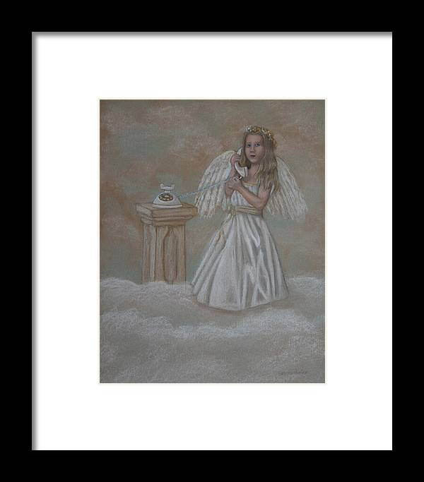 Angel Framed Print featuring the painting The Answer Is On The Way by Sandra Poirier