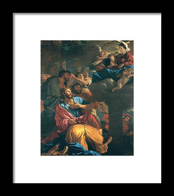 Poussin Framed Print featuring the painting The Apparition of the Virgin the St James the Great by Nicolas Poussin