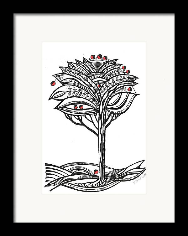 Abstract Framed Print featuring the drawing The Apple Tree by Aniko Hencz