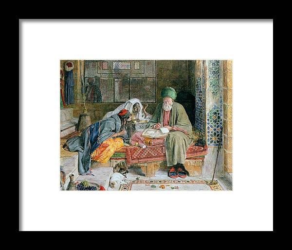 John Frederick Lewis(1804-1876)-orİentalİsm-(the Arab Scribe Cairo_19th Century) Framed Print featuring the painting The Arab Scribe Cairo by John Frederick