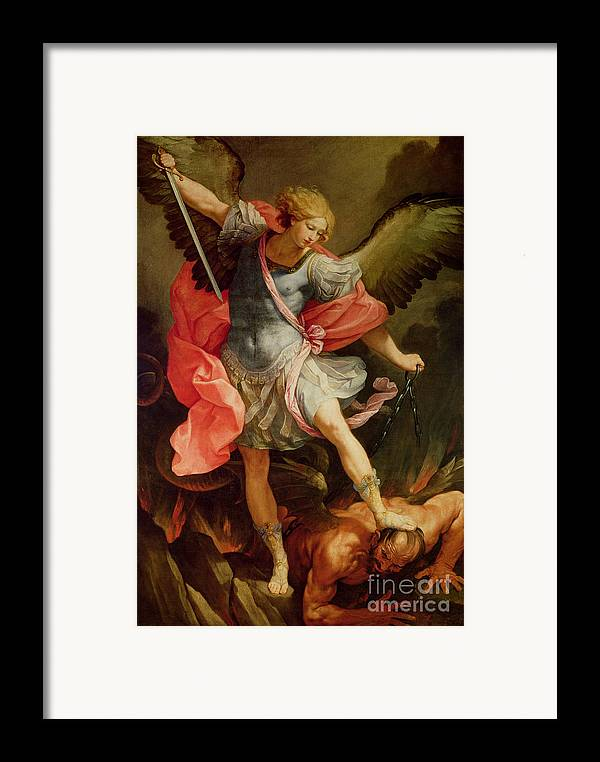 The Framed Print featuring the painting The Archangel Michael Defeating Satan by Guido Reni