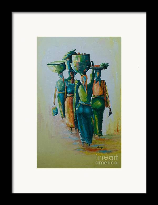 Framed Print featuring the painting the Arrival by Alfred Awonuga