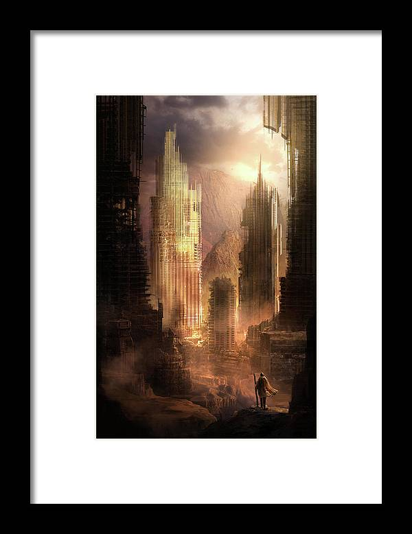 Sci-fi Framed Print featuring the painting The Arrival by Philip Straub