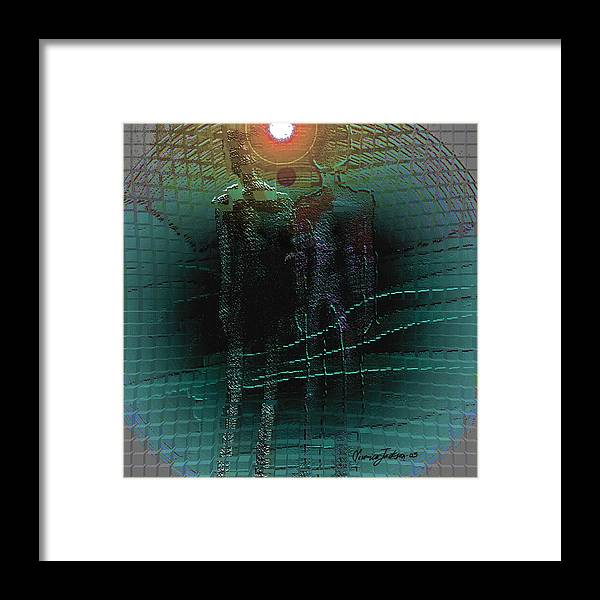 People Alien Arrival Visitors Framed Print featuring the digital art The Arrival by Veronica Jackson