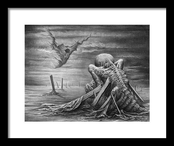 Abstract Framed Print featuring the drawing The Arrival by Victor Whitmill
