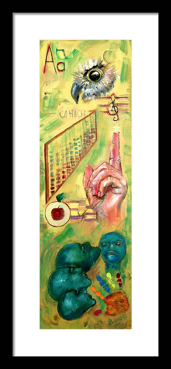 Teacher Teach Learn Owls Trust Teach Children Students Apples Abacus Music Souls Framed Print featuring the painting The Art Of Teaching by Peter Bonk