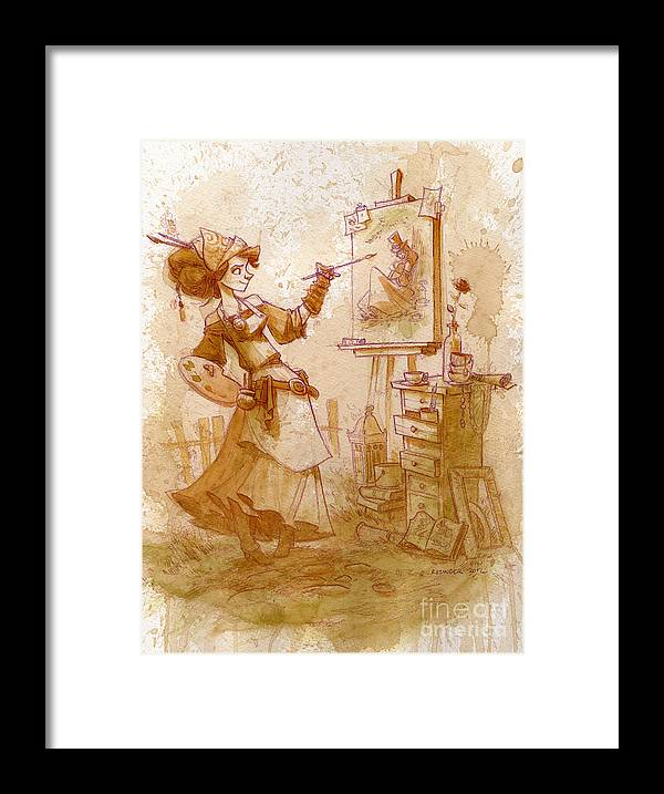 Steampunk Framed Print featuring the painting The Artist by Brian Kesinger