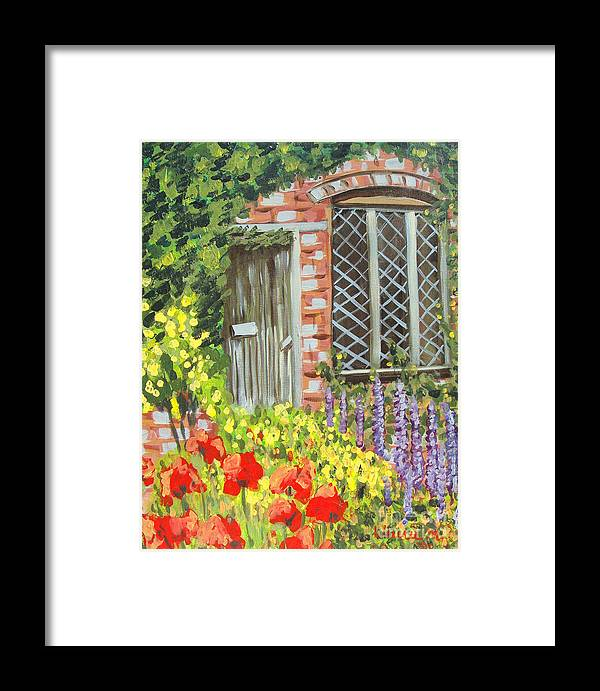 Windows Framed Print featuring the painting The Artist's Cottage by Laurie Morgan