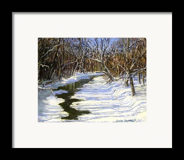 Assabet River Framed Print featuring the painting The Assabet River In Winter by Jack Skinner