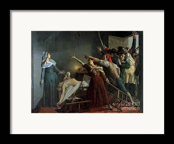 The Framed Print featuring the painting The Assassination Of Marat by Jean Joseph Weerts