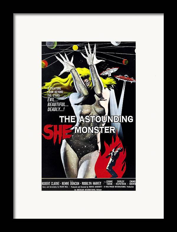 1950s Poster Art Framed Print featuring the photograph The Astounding She-monster, 1-sheet by Everett