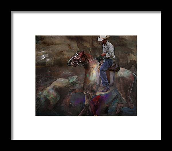 Horse Framed Print featuring the digital art The Attack by Henriette Tuer lund