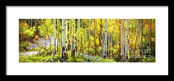Panorama View National Park Falls Aspen Colorado Aspen Trees Birch Print Art Hospital Healing Gary Kim Oil Print Art Nature Scenes Hospital Healing Santa Fe Fall Trees Autumn Season Beautiful Beauty Yellow Red Orange Fall Leaves Foliage Autumn Leaf Color Mountain Oil Painting Original Art Horizontal Landscape Park America Morning Nature Panoramic Peaceful Scenic Sky Sun Travel Vacation Season Bright Autumn National Park America Clouds Landscape Natural Painting Oil Original Vibrant Blue Sky Framed Print featuring the painting The Autumn Road..... by Gary Kim