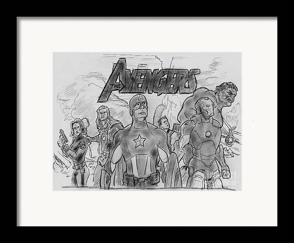 Avengers Framed Print featuring the drawing The Avengers by Chris DelVecchio