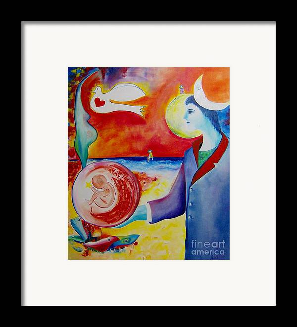 Surreal Framed Print featuring the painting The Awakening Of Humanity by Nela Vicente