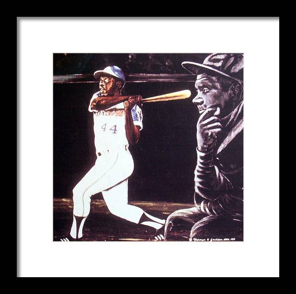 Sports Framed Print featuring the painting The Babe Looks On by Norman F Jackson