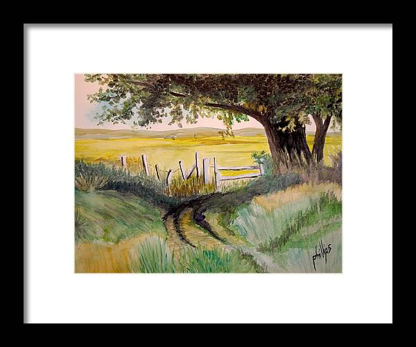Oak Farm Fence Landscape Framed Print featuring the painting The Back 40 by Jim Phillips