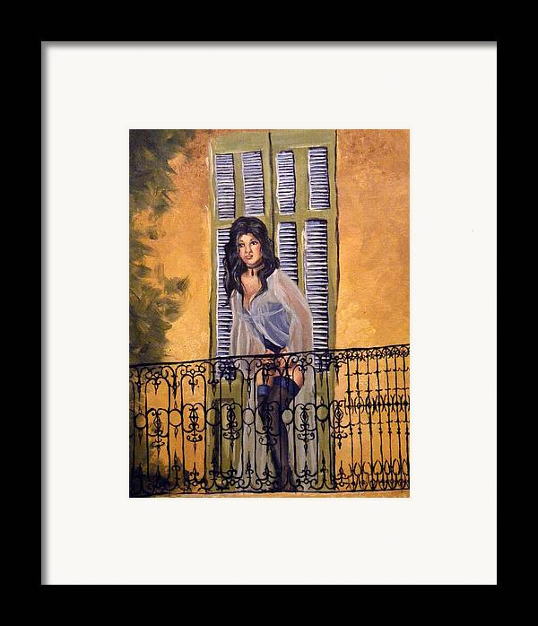 Balcony Framed Print featuring the painting The Balcony by Scarlett Royal