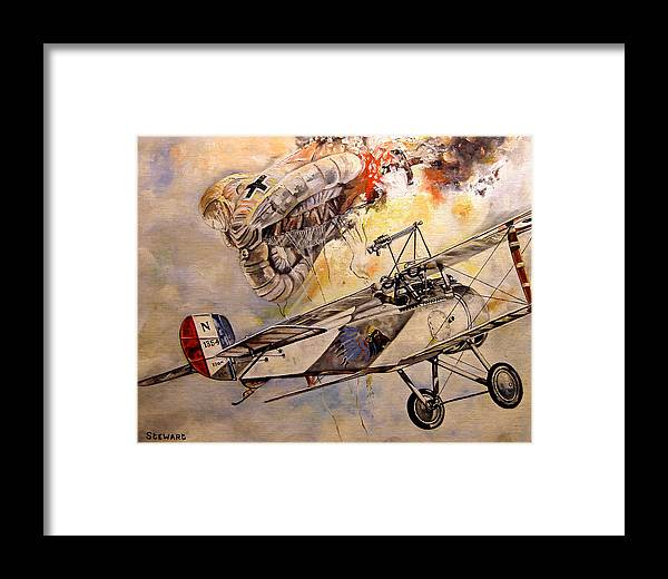 Military Framed Print featuring the painting The Balloon Buster by Marc Stewart