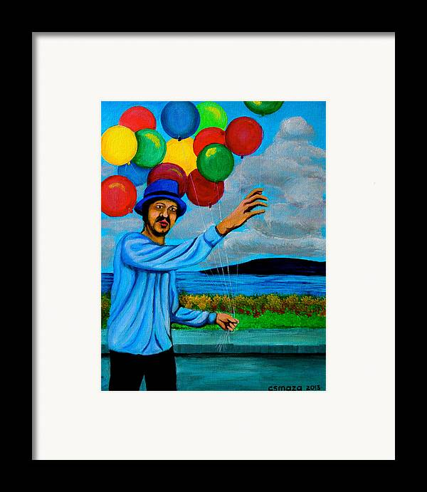 Balloon Framed Print featuring the painting The Balloon Vendor by Cyril Maza