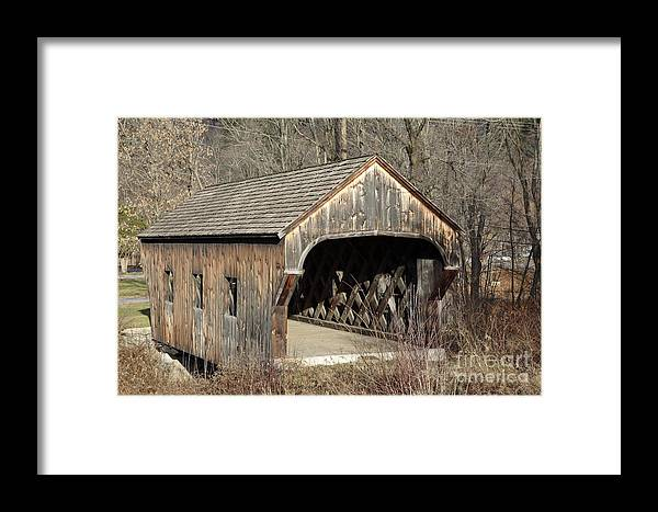 Environment Framed Print featuring the photograph The Baltimore Covered Bridge - Springfield Vermont Usa by Erin Paul Donovan
