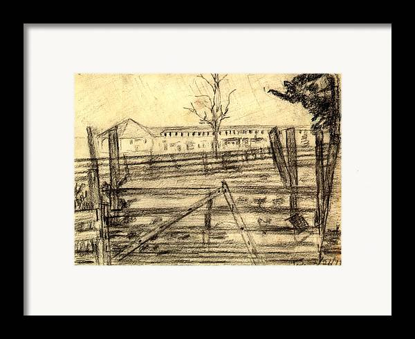 Barn Framed Print featuring the drawing The Barn by Peter Shor