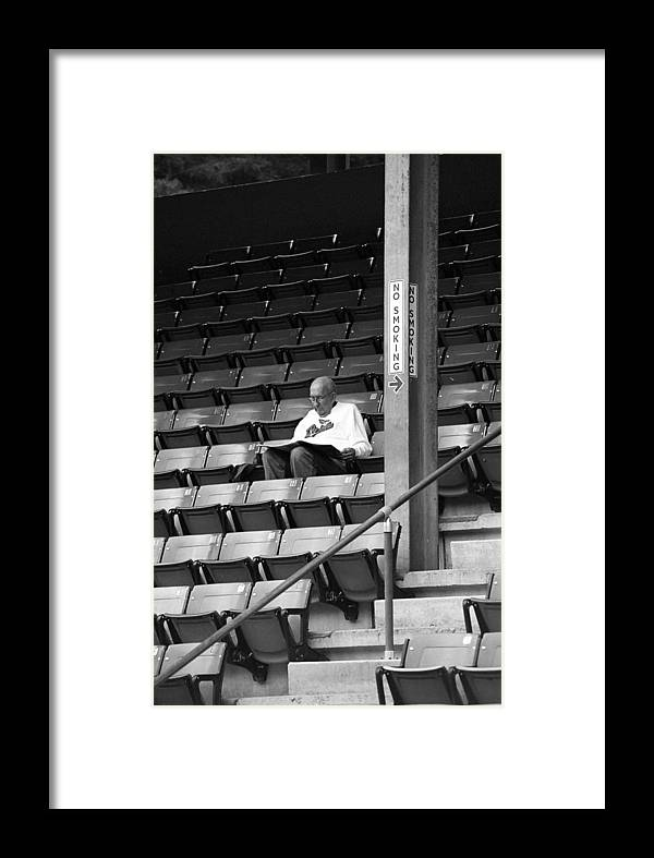 America Framed Print featuring the photograph The Baseball Fan Bw by Frank Romeo