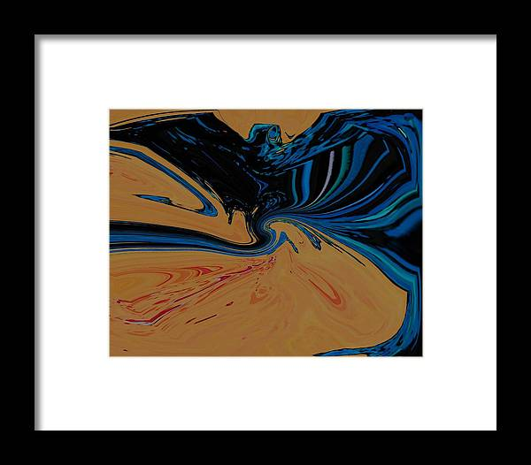 Abstract Framed Print featuring the digital art The Bat by Lenore Senior