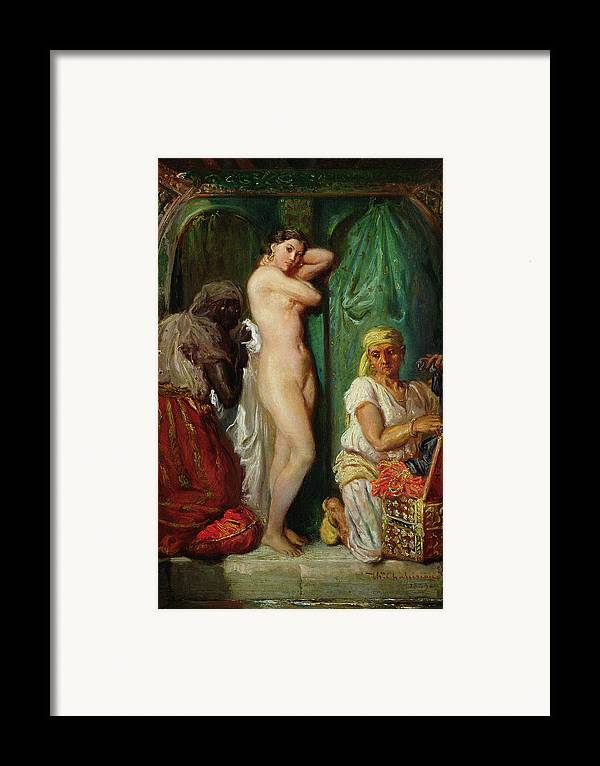 The Framed Print featuring the painting The Bath In The Harem by Theodore Chasseriau