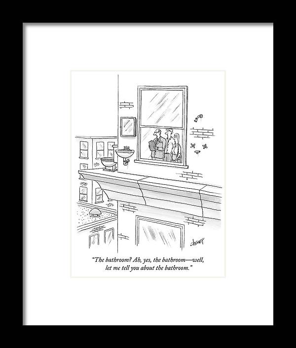 """""""the Bathroom? Ah Framed Print featuring the drawing The bathroom by Tom Cheney"""