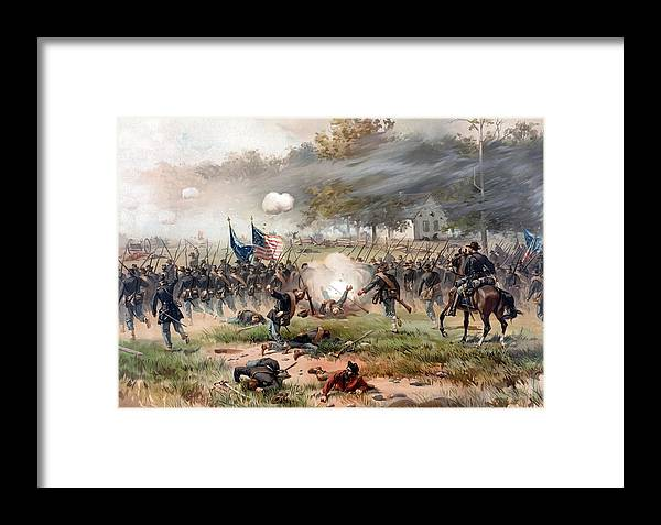 Civil War Framed Print featuring the painting The Battle Of Antietam by War Is Hell Store