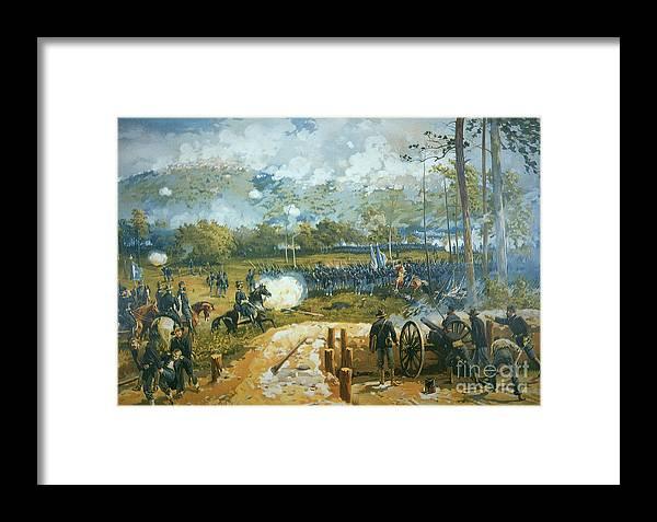 The Battle Of Kenesaw Mountain Framed Print featuring the painting The Battle Of Kenesaw Mountain by American School