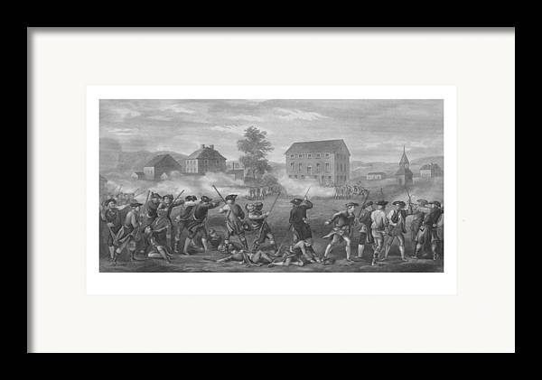 Minutemen Framed Print featuring the drawing The Battle Of Lexington by War Is Hell Store