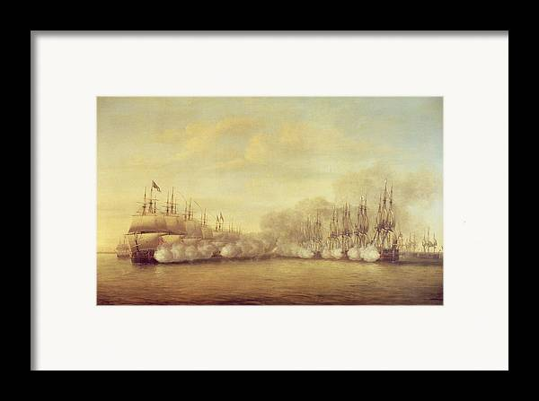 The Framed Print featuring the painting The Battle Of Negapatam by Dominic Serres