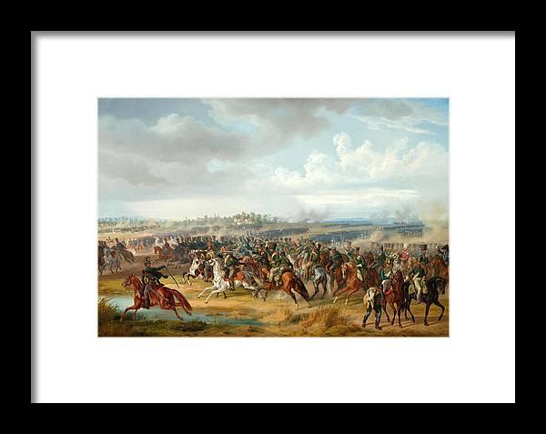 The Battle Of Papa On 12 June 1809 Framed Print by Albrecht Adam