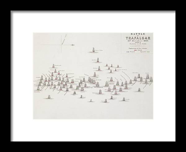 The Battle Of Trafalgar Framed Print featuring the drawing The Battle Of Trafalgar by Alexander Keith Johnston