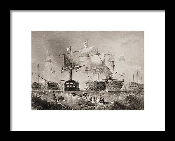 Black And White Framed Print featuring the drawing The Battle Of Trafalgar. Engraved By by Vintage Design Pics