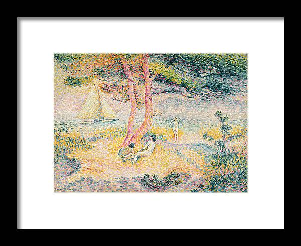 The Beach At St. Clair Framed Print featuring the painting The Beach At St Clair by Henri-Edmond Cross