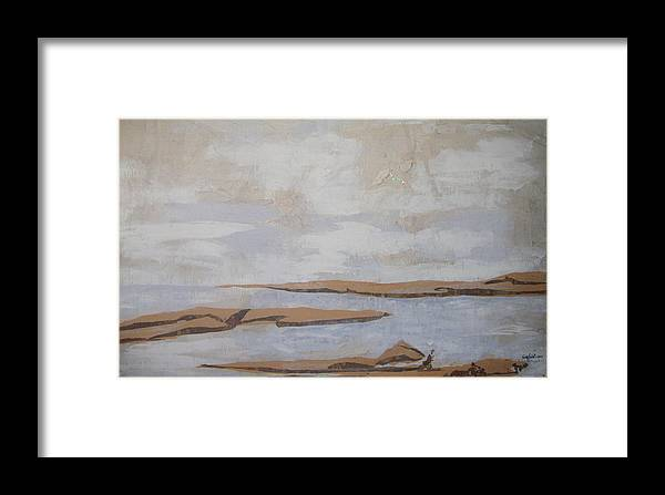 Water Framed Print featuring the mixed media The Beach by Helene Champaloux-Saraswati