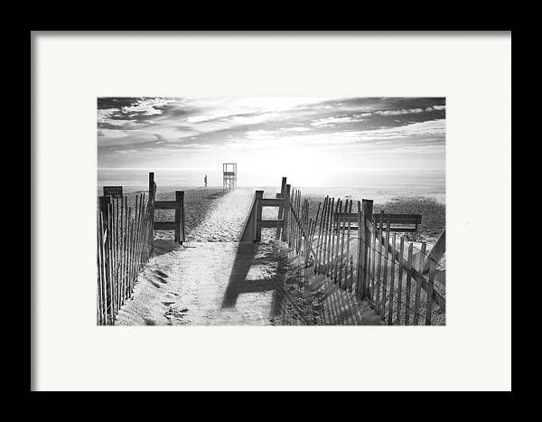 The Beach Framed Print featuring the photograph The Beach In Black And White by Dapixara Art