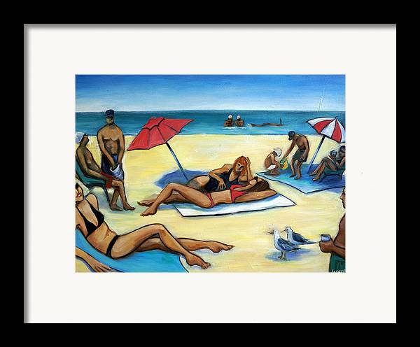 Beach Scene Framed Print featuring the painting The Beach by Valerie Vescovi