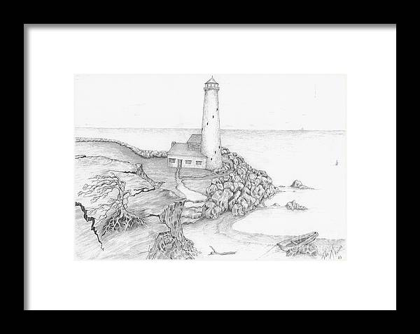 Realistic Drawing Framed Print featuring the drawing The Beacon by Dan Theisen