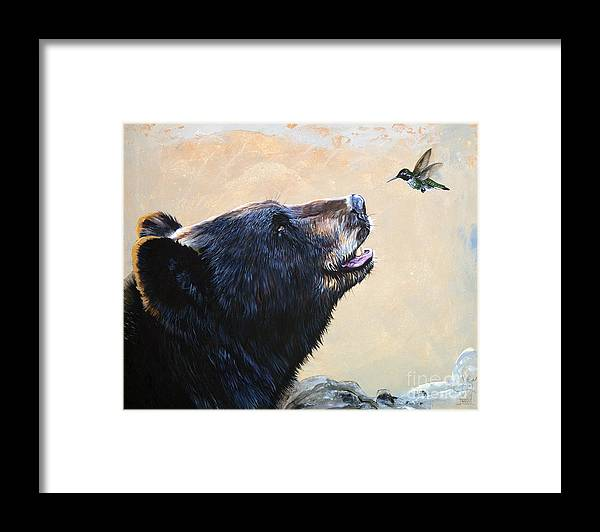 Bear Framed Print featuring the painting The Bear and the Hummingbird by J W Baker