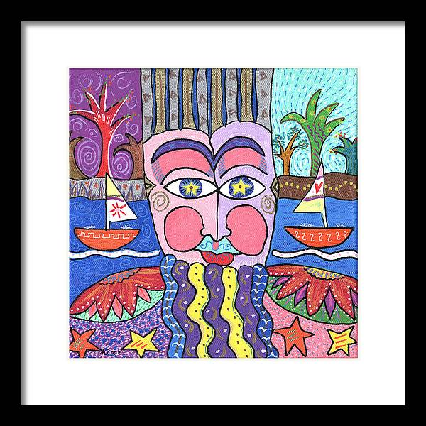 Whimsical Framed Print featuring the painting The Bearded Man by Sharon Nishihara
