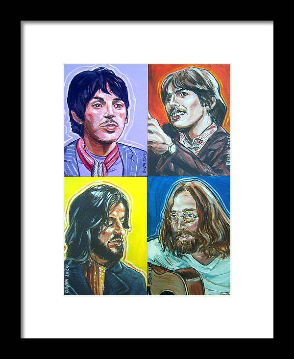 The Beatles Framed Print featuring the painting The Beatles - Montage by Bryan Bustard