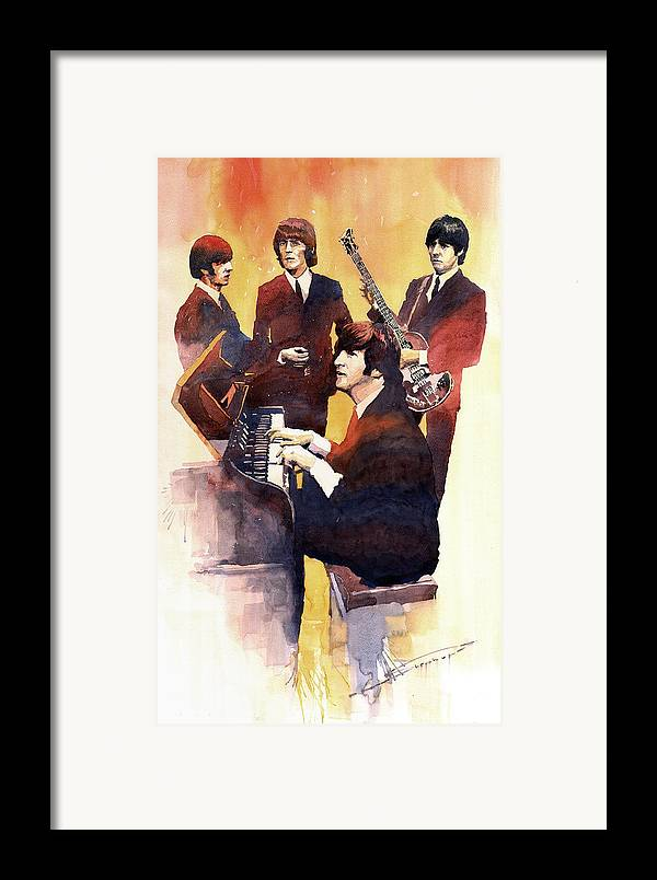 Watercolor Framed Print featuring the painting The Beatles 01 by Yuriy Shevchuk