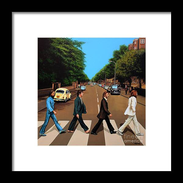 The Beatles Framed Print featuring the painting The Beatles Abbey Road by Paul Meijering