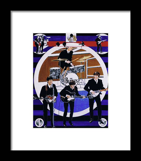 1960s Framed Print featuring the drawing The Beatles - Live On The Ed Sullivan Show by Sean Connolly