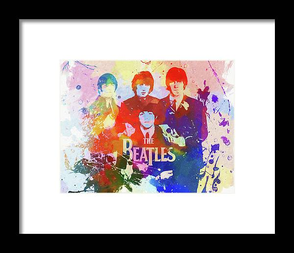 The Beatles Watercolor Framed Print featuring the painting The Beatles Paint Splatter by Dan Sproul