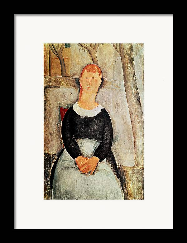 The Framed Print featuring the painting The Beautiful Grocer by Amedeo Modigliani